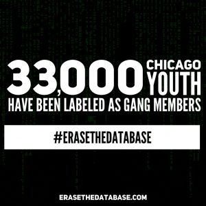 graphic saying 33,000 Chicago Youth have been labeled as gang members
